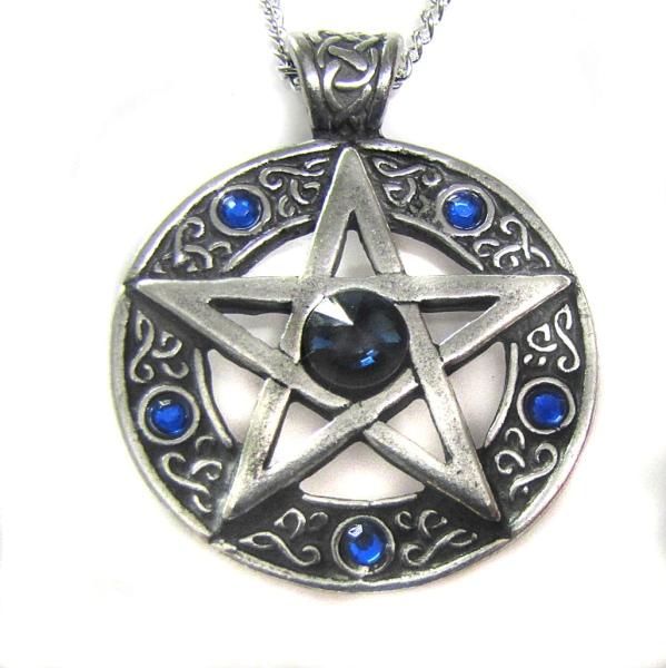 Anhänger Pentagramm blau Zinn