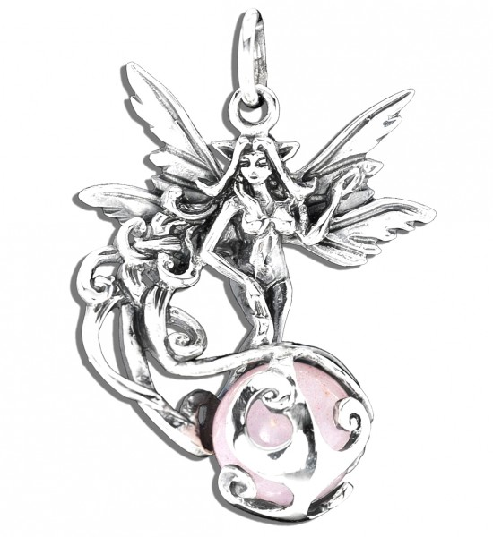 Elfe aus 925er Sterling Silber mit Rosenquarz