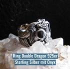 Breiter Silberring mit keltischen Drachen