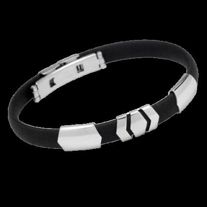 Armband schwarzer Kautschuk mit Edelstahl Schmuck