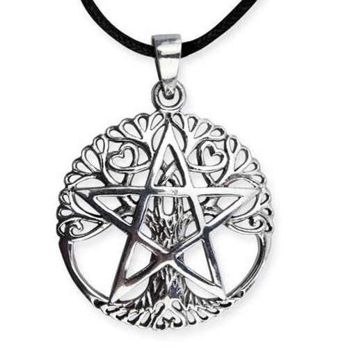 Silberanhänger Lebensbaum mit Pentagramm aus 925er Sterling Silber