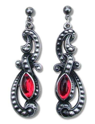 Ohrringe Gothic Beauty antik silberfarben mit roten Glassteinen