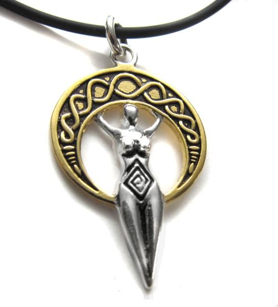 Anhänger Amulett Göttin Hera Bicolor goldfarbene Bronze teilversilbert Schmuck