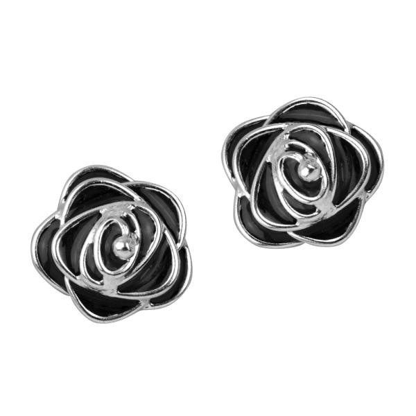Ohrstecker Schwarze Rose 925er Sterling Silber mit Emaille