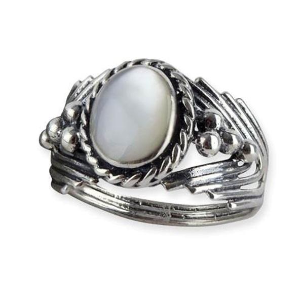 Damenring mit Perlmutt und Ornamenten verziert 925er Sterling Silber Höhe 1,2cm