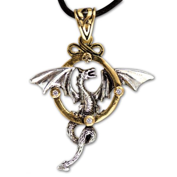 Anhänger Fantasy Drache bicolor goldfarbene Bronze teilversilbert mit Zirkonia