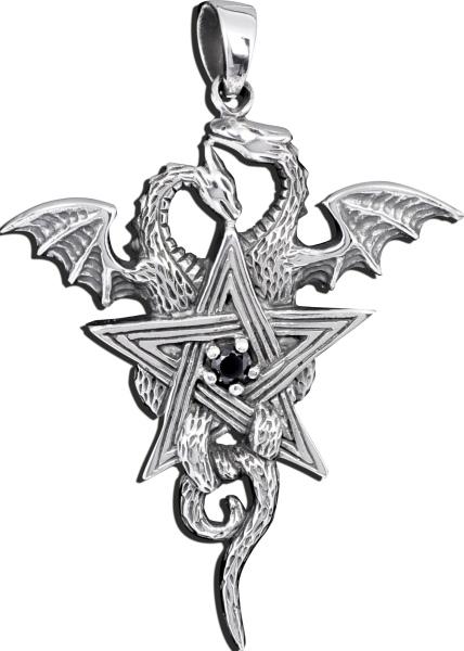 Anhänger zwei Drachen mit Pentagramm aus 925er Sterling Silber