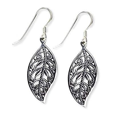 Ohrringe Blatt mit floralem Design 925 Sterling Silber