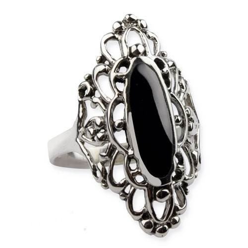 Ring Gothic Big Black Ornament 925 Silber