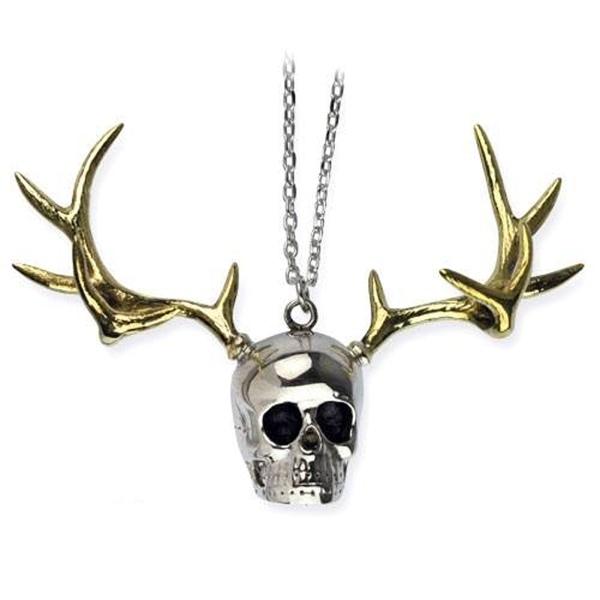 Anhänger Totenkopf mit Geweih Skull with Deer Head Silber- und Goldfarben Bicolor Messing mit Epoxy