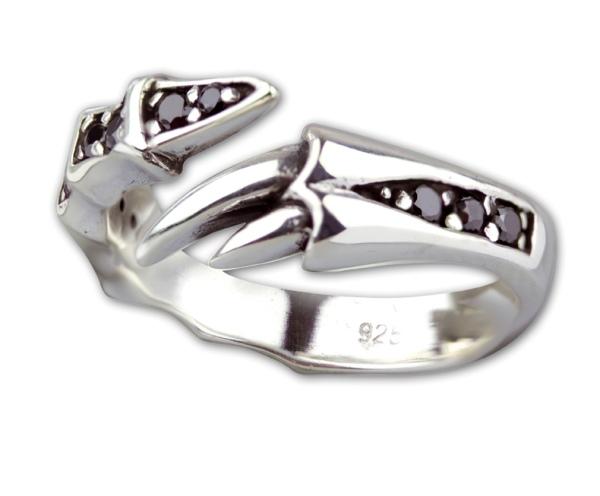Ring Klaue Claw 925er Sterling Silber mit schwarzen Zirkonia