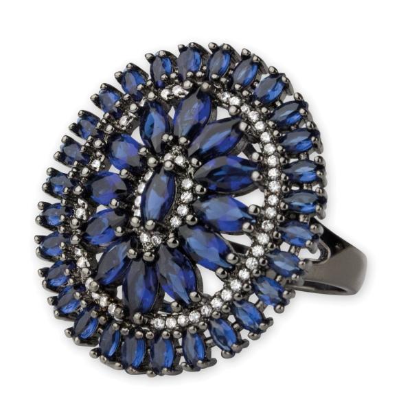 Schwarzer Ring Blue Elizabeth mit Zirkonia und Glas in Blau aus Messing beschichtet