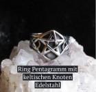 Pentagrammring mit seitlichen keltischen Knoten aus Edelstahl