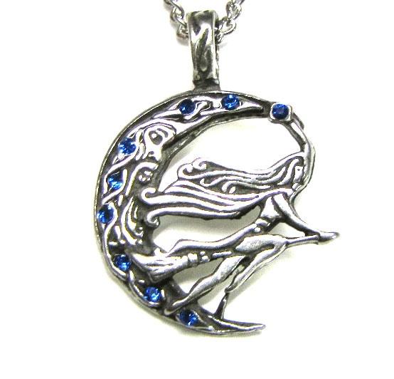 Anhänger Hexe und Mond Amulett Freya aus Zinn mit Zirkonia blau inkl Kette Fantasy