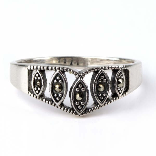 Ring Tiara 925er Sterling Silber mit Markasit Höhe 0,7cm