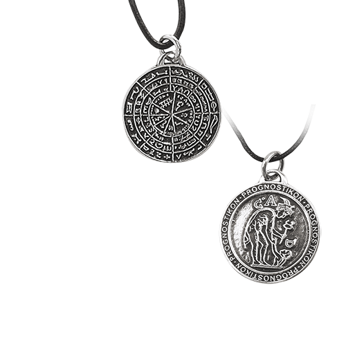 Amulett Prognostikon griechischer Zauberkreis 925er Sterling Silber mit Lederband