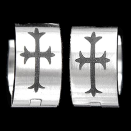 Creolen mit Kreuz silber / schwarz  Edelstahl Ohrringe Schmuck
