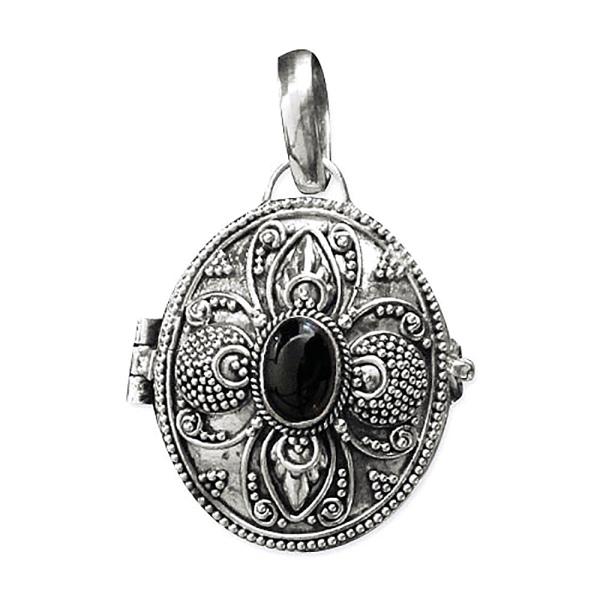 Silberamulett zum Öffnen Silber mit schwarzem Onyx