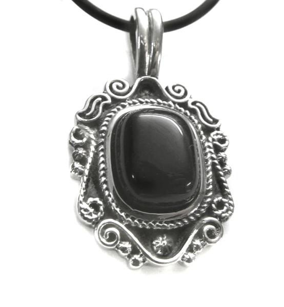 Anhänger Black Vintage Ornament aus Edelstahl mit schwarzem Zirkonia