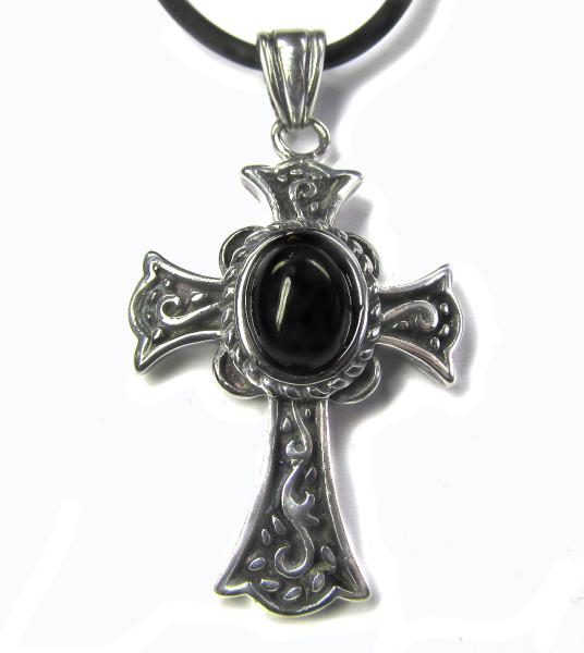 Kreuz Black Cross mit Lederband aus Edelstahl