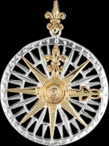 Zweifarbiger Anhänger Kompass mit Fleur de Lys aus Bronze, teilweise versilbert