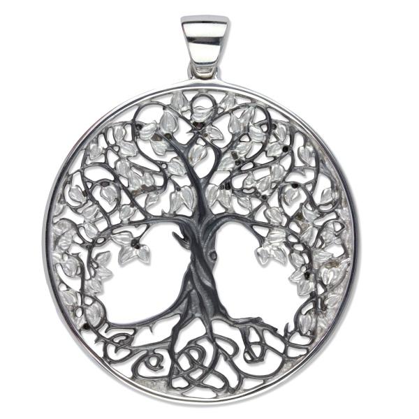 Anhänger Lebensbaum Baum des Lebens 925er Sterling Silber schwarz rhodiniert