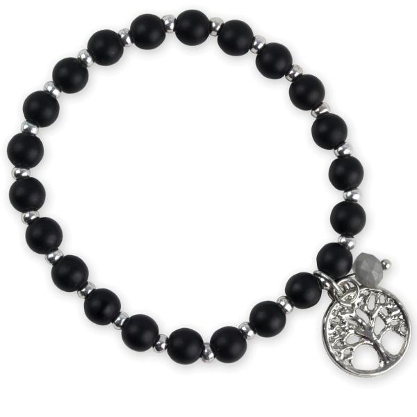 Schwarzes Armband mit Lebensbaum aus Glas und Metall Länge 18 cm elastisch
