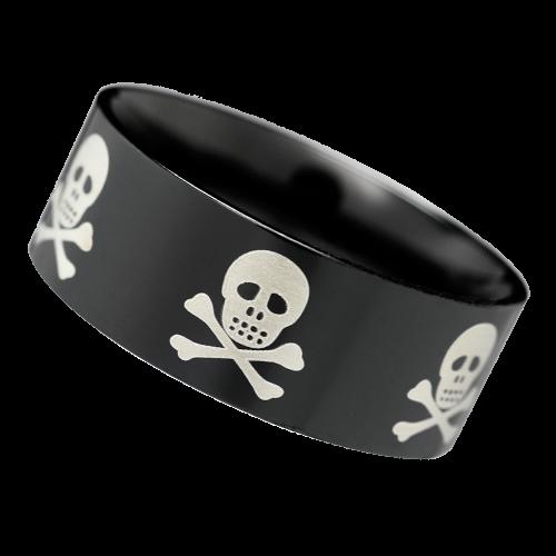 Schwarzer Ring Totenkopf Edelstahl