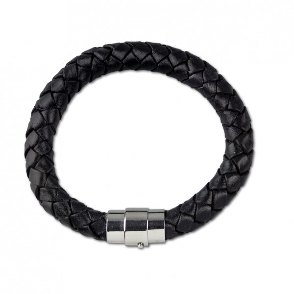 Schwarzes Lederarmband geflochten Stärke 1cm Magnetverschluß aus Edelstahl