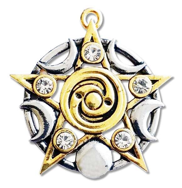 Amulett Stern von Skellig Bicolor mit Zirkonia aus Zinklegierung silberfarben und goldfarben teilcoloriert inkl Kette