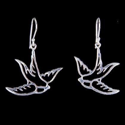 Schwalben Ohrringe aus 925er Sterling Silber