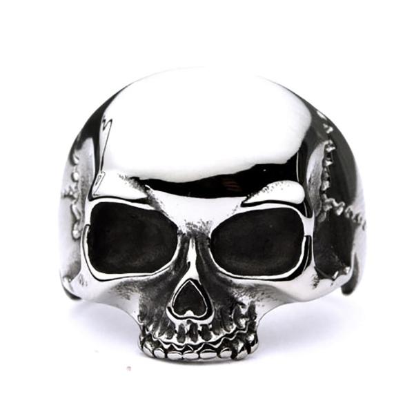 Klassischer Bikerring - großer Ring Totenkopf Simple Skull aus Edelstahl poliert