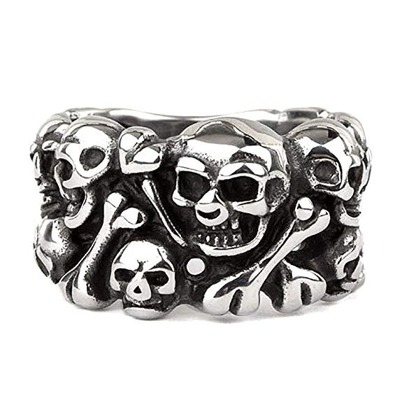 Ring Skulls Totenköpfe und Knochen Edelstahl Höhe 1,5cm