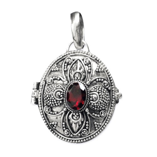 Medaillon Secret Box 925er Sterling Silber mit Granat