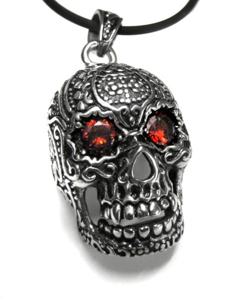 Anhänger Totenkopf Sugar Skull inkl Lederband Edelstahl mit roten Zirkonia