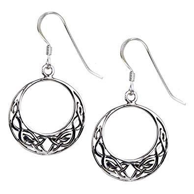 Runde Ohrringe Keltische Knoten aus 925er Sterling Silber