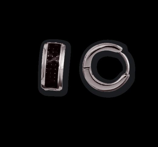 Creolen mit Karbon Silber / Schwarz Edelstahl poliert Ohrringe