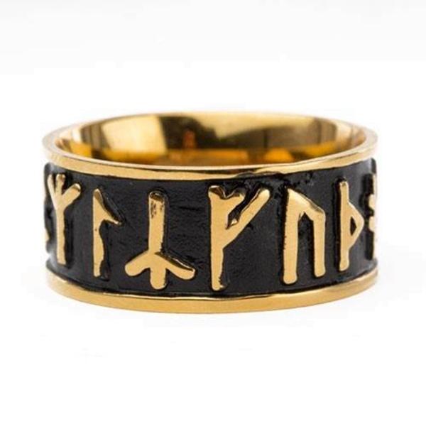 Ring Futhark Runen aus Edelstahl bronzefarben