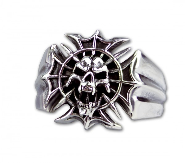 Ring Totenkopf Skull On Spider Cross 925er Sterling Silber Totenkopfring