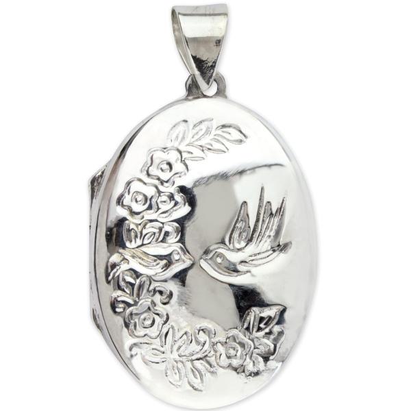 Medaillon Blumen und Vogel 925er Sterling Silber