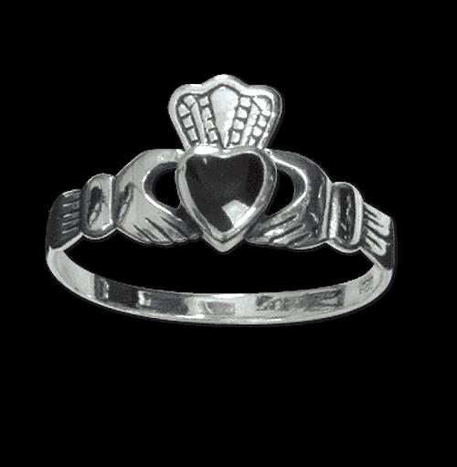 Ring Claddagh Herz mit Krone 925er Sterling Silber mit Onyx