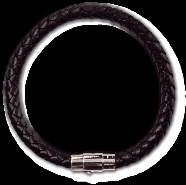 Armband aus geflochtenem Leder 0,6cmx 20cm mit Edelstahl