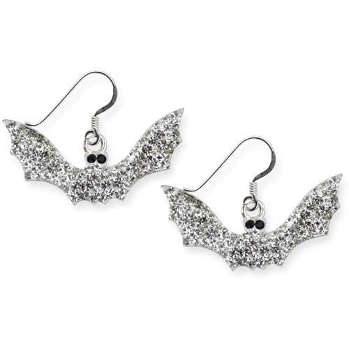 Ohrringe Fledermaus Gothic White Bat 925er Sterling Silber mit weißen Zirkonia besetzt