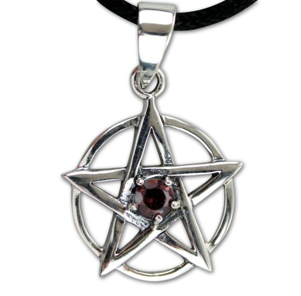 Amulett Pentagramm mit roten Zirkonia 925er Sterling Silber