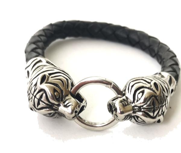 Armband Black Tiger schwarzes Kunstlederarmband mit Tigerkopf aus Edelstahl