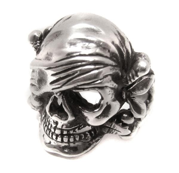Totenkopfring Pirat Jolly Roger aus 925er Sterling Silber