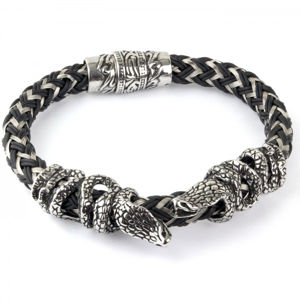 Armband Kobra schwarz/silber aus Edelstahl mit Magnetverschluß