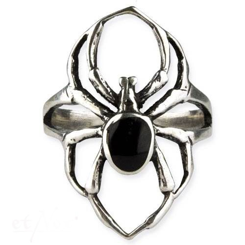 Ring Spinne Gothic Black Spider 925er Sterling Silber mit Onyx