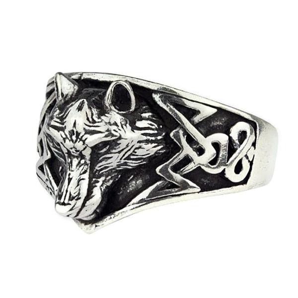 Ring Wolf mit keltischen Knoten 925 Silber