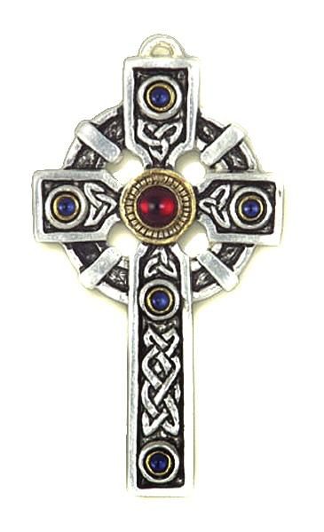 Anhänger keltisches Kreuz Crux Zinn mit Zirkonia blau und rot goldfarben teilcoloriert inkl Kette